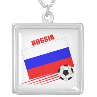 Russian Soccer Team Square Pendant Necklace