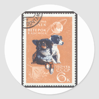 Russian Space Dogs 1966 Cosmos 110 Round Sticker