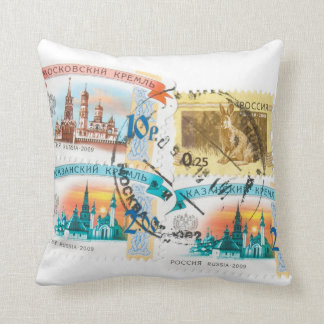 Russian stamps cushion