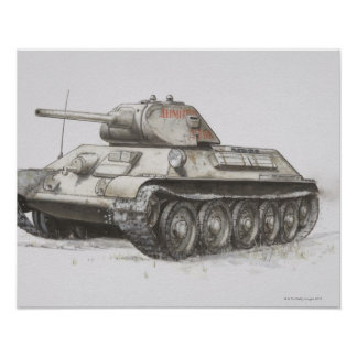 Russian T-34 army tank, side view. Print