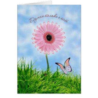 Russian Thinking of You Card. Pink daisy - gerbera Card