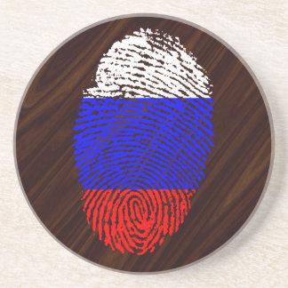 Russian touch fingerprint flag coaster