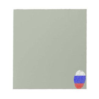 Russian touch fingerprint flag notepad