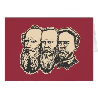Russian Troika: Tolstoy, Dostoevsky, Chekhov Greeting Card
