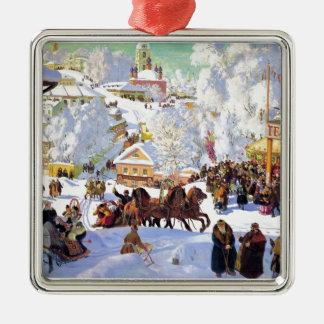 Russian Village in the Winter Silver-Colored Square Decoration