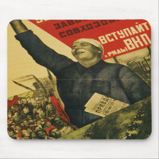 Russian Vintage Communist Propaganda Poster Mouse Pad