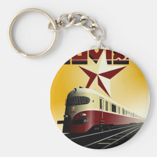 Russian Vintage Communist Railway Poster Basic Round Button Key Ring