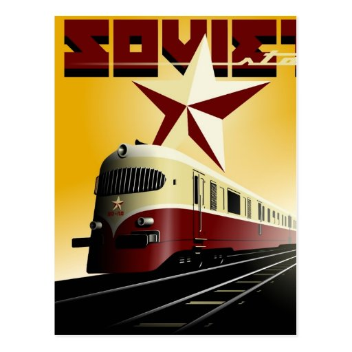 Russian Vintage Communist Railway Poster Post Cards