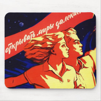 Russian Vintage Communist Space Propaganda Mouse Pad