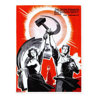 Russian Vintage Propaganda Poster Postcard