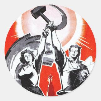 Russian Vintage Propaganda Poster Round Sticker
