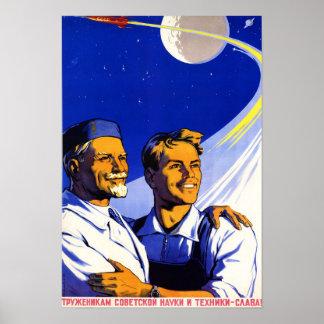 Russian Vintage Space Propaganda Poster