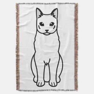 Russian White Cat Cartoon Throw Blanket