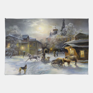 Russian Winter Village Painting Kitchen Towel