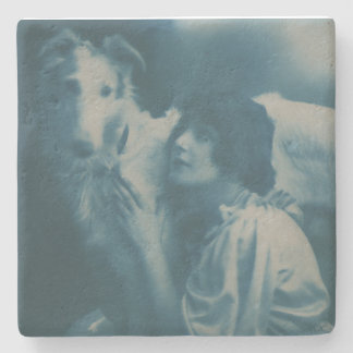 Russian Wolfhound Dog with Flapper Girl Art Deco Stone Coaster