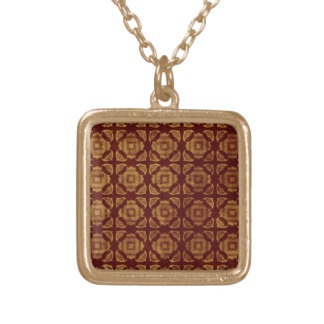 Rust and Gold Pattern Gold Plated Necklace