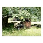 Rust Bucket Truck  on Field (Side View) Postcard