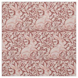 Rust Color Rabbit & Leaves Designer Fabric