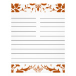 Rust Damask Personalised Matching Recipe Paper Full Color Flyer