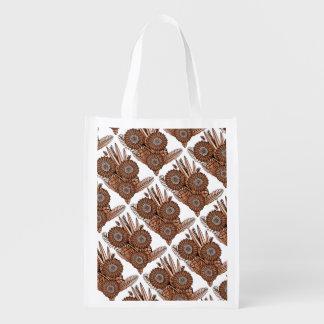 Rust Gerbera Daisy Flower Bouquet Reusable Grocery Bag