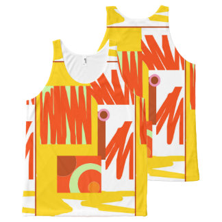 Rust Gold / Mustard 3 Abstract Unisex Tank Top