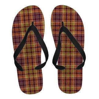 Rust Plaid print flip flops