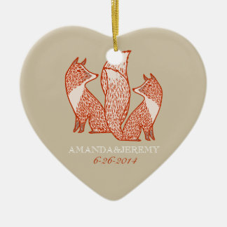 Rust Red and Ivory Foxes Anniversary Christmas Ornament