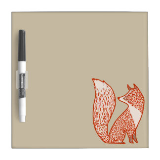Rust Red and Ivory Foxes Dry Erase White Board