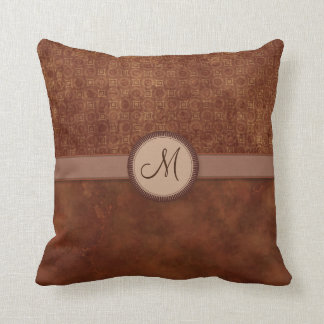 Rust Red Coin Pattern with Monogram Cushion