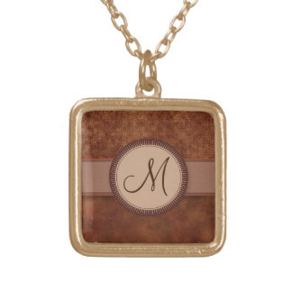 Rust Red Coin Pattern with Monogram Pendant