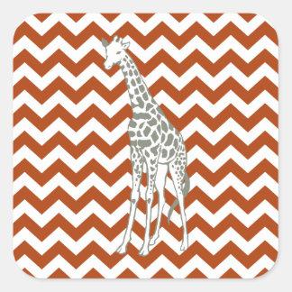 Rust Red Safari Chevron with Pop Art Giraffe Square Sticker