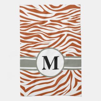 Rust Red Safari Zebra with monogram Tea Towel