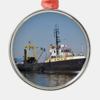 Rust Streaked Fishing Boat Christmas Ornament