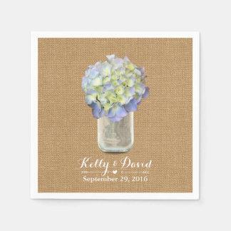 Rustc Burlap Blue Hydrangea Mason Jar Wedding Paper Napkin