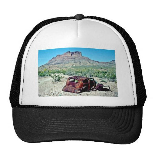 Rusted Antique Car In Front Of Butte Trucker Hats