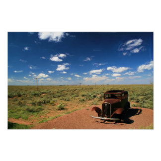Rusted Car in Desert Painting Poster