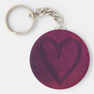 Rusted Deep Pink Heart Keychain