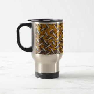 Rusted Diamond Plate Metal Travel Mug
