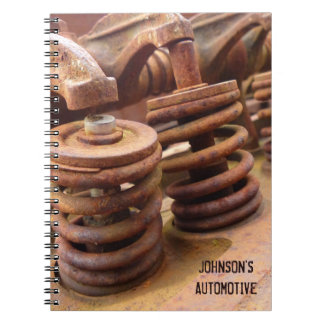 Rusted Engine Parts Manly Automotive Theme Spiral Notebook