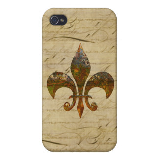Rusted Fleur De Lis on Faded Antique Parchment iPhone 4/4S Cases