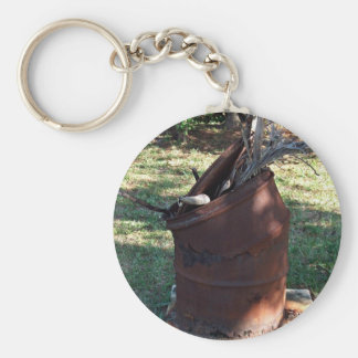 Rusted garbage can in grassy landscape key ring