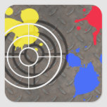 Rusted Grate with Gun Sight Square Stickers