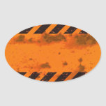 Rusted Hazard Stripes Background Oval Sticker