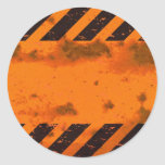 Rusted Hazard Stripes Background Round Sticker