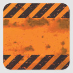 Rusted Hazard Stripes Background Square Sticker