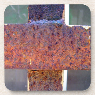 Rusted metal cross coaster