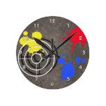 Rusted Metal Grate  Gun Sight and Paint Splatters Wall Clock