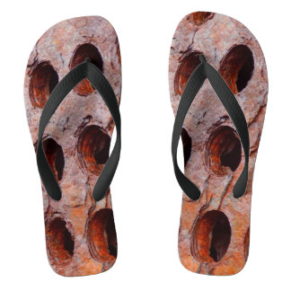 Rusted Perforated Metal Flip Flops