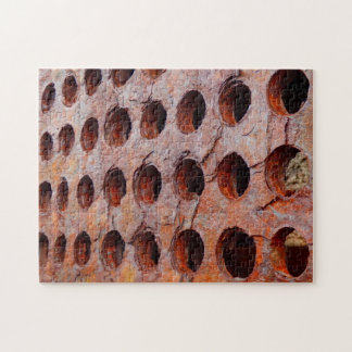 Rusted Perforated Metal Photo Puzzle with Gift Box