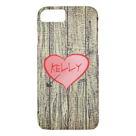 Rusted Wood Fence Romantic Love Heart Personalised iPhone 8/7 Case